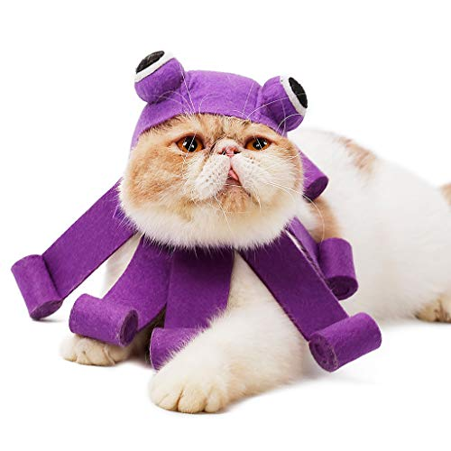 Krake Stirnband Hund Katze Cosplay Party kostüm zubehör Headwear Kostüm Haustier Katzen Hündchen Krake Kappe Haustier Kleidung für Katze Hund (Free Size, Purple) (Dog Boy Kostüm)