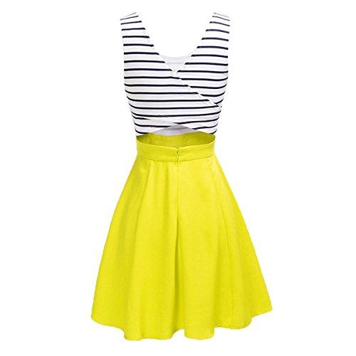 Elegant Damen Streifen Minikleid A-Linien Knielang Kleider Skaterkleid Ärmellose Kleider Kurz Partykleider Cocktailkleid Gelb