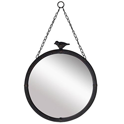 NIKKY HOME Vintage Metall Wandspiegel Runde Hängenden Spiegel Alten Stil Vogel für Haus Raumdekoration 28,5CM