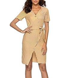 cf020354d5a Robe ADESHOP Mode Femme Simple Boutonnage Col en V Manche Courte Bandage  Slim Robe DéContractéE Mini Robe ÉLéGant Robe De SoiréE…