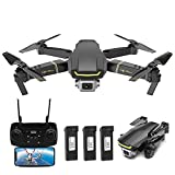 Goolsky Global Drone GW89 Drone RC avec caméra 1080P WiFi FPV Geste Photo Vidéo Altitude Tenir Pliable RC Selfie Quadricoptère (avec 1/2/3 Batterie) Facultatif (Noir, 3 Batteries)