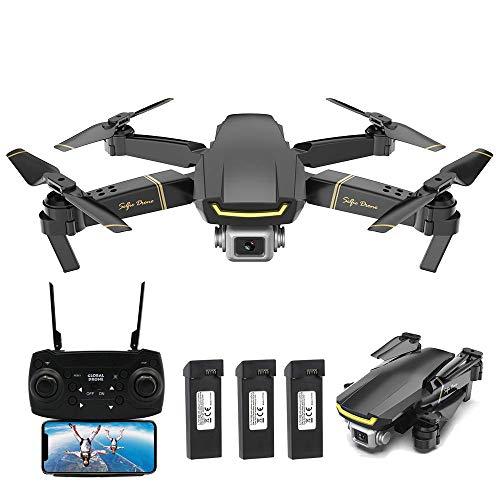 Goolsky GLOBAL Drone GW89 RC Drohne mit Kamera 1080P WiFi FPV Geste Foto Video Höhe Halten Faltbare RC Selfie Quadcopter mit 3 Batterien,Schwarz