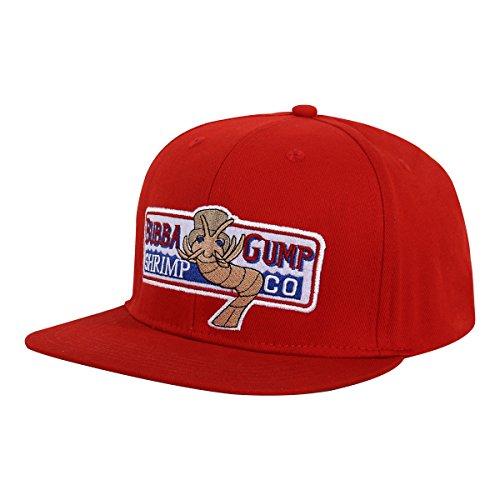 nofonda Unisex Forrest Gump Cap, Flach-Rand Baseballmütze mit Besticktem Bubba Gump Shrimp Co. Logo, Snapback Hut als Cosplay-Kostüm Zubehör oder Geschenk, für Sport oder Freizeit (Rot) (Garnelen Kostüm Hut)