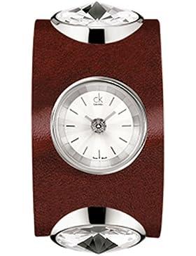Calvin Klein Damen-Armbanduhr XS Night Analog Leder K4623138