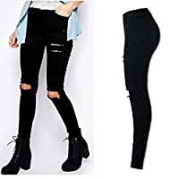 Piebo Women Cool Ripped Knee Cut Skinny Long Jeans Pants Slim Pencil Trousers (S)