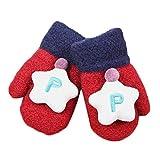 Hikfly knit Mittens Guanti per il bambino Ragazze Ragazzi Per i più piccoli Guanti termici sportivi all'aperto Regali di Natale (1-3 anni) (Stella, Rosso)