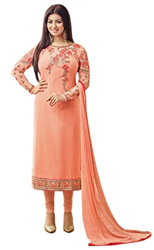 Aarvicouture Women's gown Latest Party Wear Pink Georgette silk Embroidery Free Size...