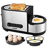 Aicok Toaster, 3 in 1 praktischer Automatik Toaster mit Eierkocher und elektrischee Pfannen, (1250 Watt, bis zu 7 Bräunungsstufen und 2 Brotscheiben, gebürsteter...