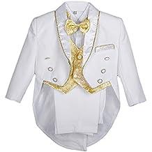 Lito Angels bébé garçon Jacquard Gilet 5 pièces Formelle Tuxedo Suit avec  Queue baptême ... b4a9fbc0b8e