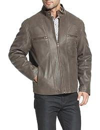 BGSD Men's Distressed Biker Leather Bomber Jacket