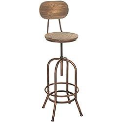 CLP Taburete de diseño PINO, look industrial, mezcla de madea y metal, altura del asiento regulable entre 68- 88 cm bronce