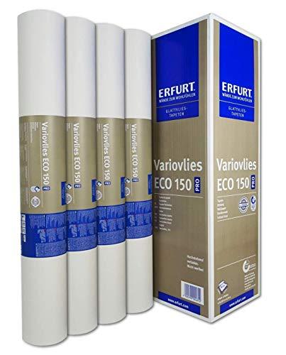 Erfurt Eco-Vlies EV 150g/qm Ecovlies Variovlies Malervlies überstreichbare Vliestapete, 8 Rollen