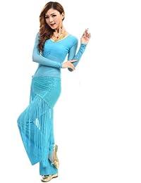 H: oter Langarmshirt Belly Dancing Top und Hose , mit Quaste Bling Hip Schals, Preis / Set - blaugrün