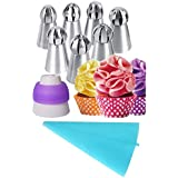 Kurtzy Icing Piping Bag Sphere Ball Flowers Russian Nozzles Tips Pastry Cake Fondant Cupcake Buttercream DIY Baking Decorating Tool Set Of 7 Assorted