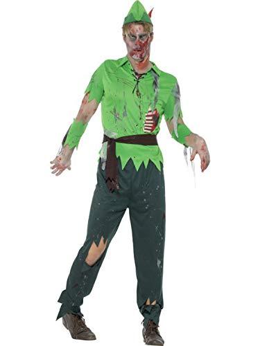costumebakery - Herren Männer Kostüm Horror Zombie Robin Hood, Hut Shirt Hose Gürtel und Ärmel, Zombie Lost Boy, perfekt für Halloween Karneval und Fasching, L, Grün (Robin Hood Boy Kostüme)