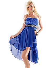 Vokuhila Kleid Spitze Strass Abendkleid Abiballkleid vorne kurz hinten lang Cocktailkleid
