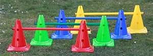 Set di ostacoli / coni marcatori, 12 pezzi, 4 colori, h: 30 cm, l: 80 cm
