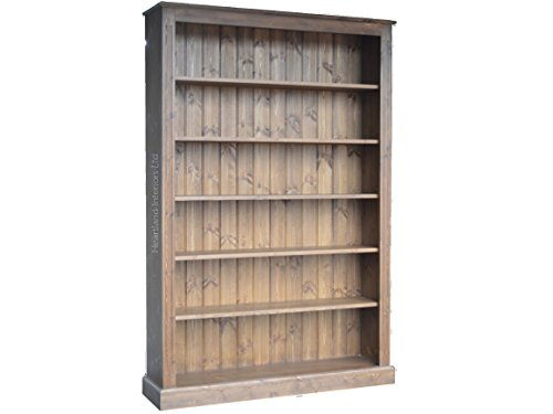 Solid Pine Bookcase, 6ft x 4ft Handcrafted & Waxed Adjustable Display Shelving Unit, Bookshelves. Choice of Colours. No flat packs, No assembly (BK24)