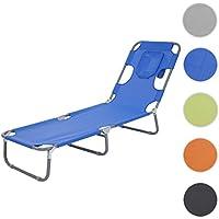 Chaise longue de jardin HWC-B11, transat bain de soleil, fonction position sur le ventre, tissu pliable ~ bleu