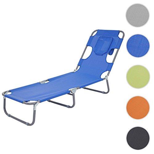 Mendler Sonnenliege HWC-B11, Relaxliege Gartenliege, Bauchliegefunktion Textil klappbar ~ blau