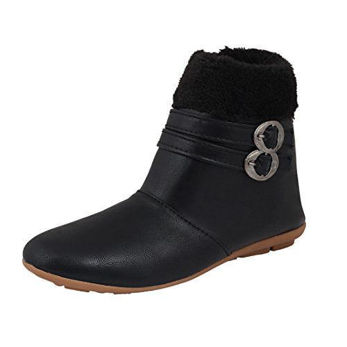 ABJ Fashion Boot-Double-Buckle Black Stylish Smart Casual Boots for Women