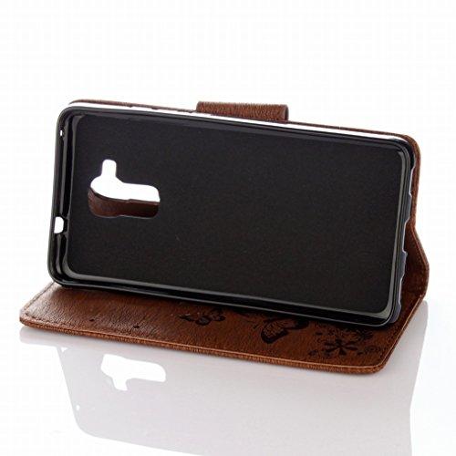 LEMORRY Huawei Honor 5c Custodia Pelle Cuoio Flip Portafoglio Borsa Sottile Fit Bumper Protettivo Magnetico Chiusura Standing Card Slot Morbido Silicone TPU Case Cover Custodia per Huawei Honor 5c (Ho Marrone