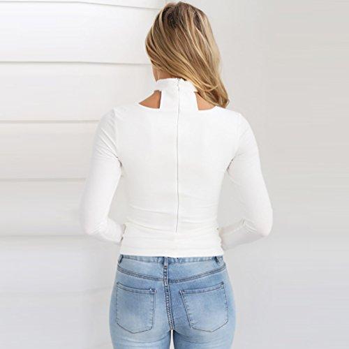YiJee Femme Manches Longues Tunique Slim V Cou Blouse Blanc