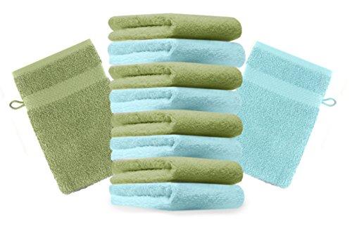 Betz Lot de 10 gants de toilette Premium vert pomme et turquoise, taille: 16x21 cm