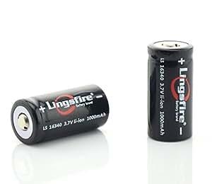LingsFire® 2 X 16340 1000mAh 3.7V Pile Alcaline batteries au lithium rechargeables Li-ion Noir
