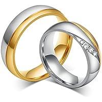 Bishilin 2Pcs Placcato Oro Lui e Lei Anello di Fidanzamento per Donna e Uomo