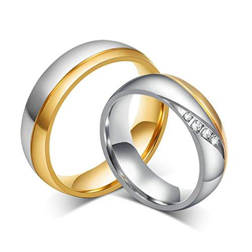 Bishilin 2St Vergoldet Herren und Damen Hochzeit Ringe Sets Edelstahl Damen Größe 54 (17.2) & Herren Größe 60 (19.1) (Herr Der Ringe Katze Kostüm)