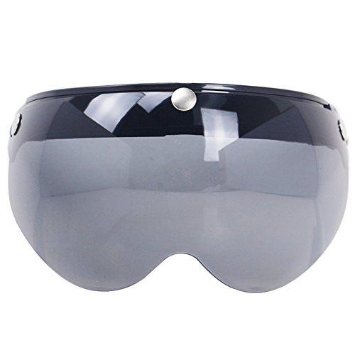 KKmoon Universal Windproof 3-Snap Motorradhelm Visier vorne Flip Up Visier Windschutzscheibe Objektiv für Motorradhelm Sonnenbrille -