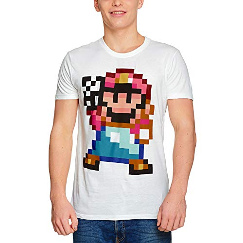Men's Mario 16 Bit Close-Up T-Shirt , white