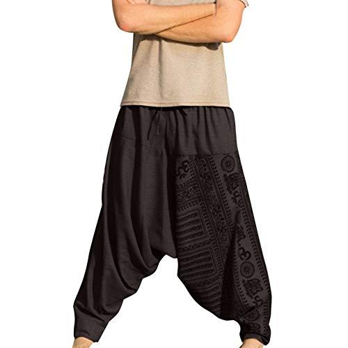 ZYUEER Kurze Hosen Herren Sommer Männer Haremshosen Strandhosen Hose Yoga Tanz Lose Große Retro Freizeithose Pumphose Aladinhose -