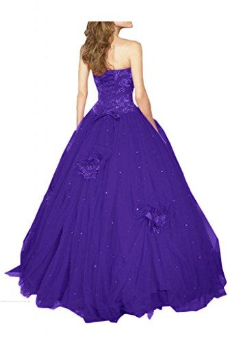 Gorgeous Bride Fashion Lang Traegerlos A-Linie Satin Tuell Abendkleid Abendmode Festkleid Lila