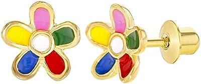 14KT oro multicolor flores niña adolescente Pendientes 8mm Tornillos