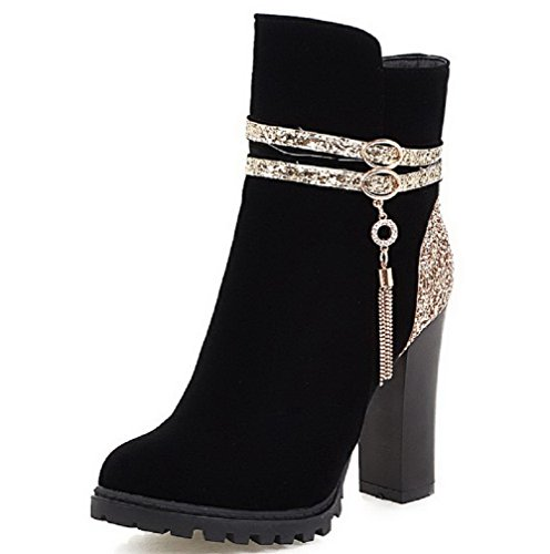 AgooLar Damen Niedrig-Spitze Eingelegt Reißverschluss Hoher Absatz Stiefel mit Anhänger, Schwarz, 36