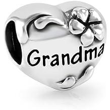Argent sterling 925Cœur Grandma Perle charm Bracelet Pandora