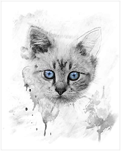 Wallario Black and White Edition - Poster Katze in Wasserfarben gemalt Schwarz-Weiß in Premiumqualität, Größe: 40 x 50 cm -