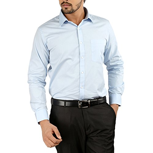 Oxemberg Full Sleeves Plain 100% Cotton Slim Fit Sky Blue Shirt