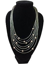 Damen Halskette, Mehrgliedrige mattgraue Lederkette mit goldfarbenen Metallplättchen, Karabinerverschluß, größenverstellbar 44 - 51 cm Länge