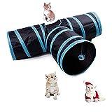 Kuiji Cat Tunnel Toy, Pieghevole, Play Tunnel Pet Giochi interattivi Tubo Forniture per Gattino Coniglio Piccolo Cani Indoor Outdoor Use-3Way Blue Stripe