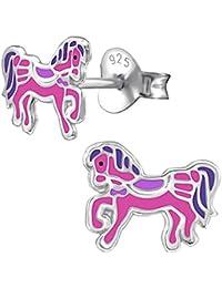 226ff678dcac So Chic Joyas© pendientes de niño poni caballo sillín Cavalier libertad  rosa púrpura plata 925