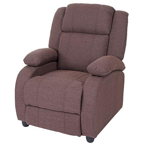 Mendler Fernsehsessel Lincoln, Relaxsessel Liege Sessel, Stoff/Textil ~ Mahagony
