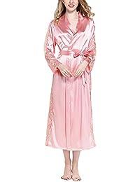 Dolamen Mujer Vestido Kimono Satén Largo, Cordón Camisón para mujer, Lujoso Robe Albornoz Dama de honor Ropa de dormir Pijama, Busto 108 cm, 45,52 inch