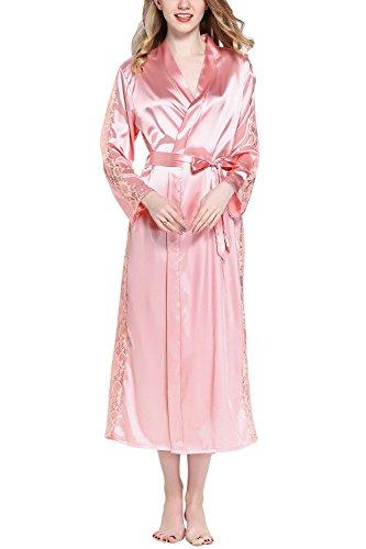 Dolamen Damen Morgenmantel Kimono Lange, Luxuriös Spitze glatte Satin Nachtwäsche Bademantel Robe Kimono Negligee Seidenrobe locker Schlafanzug, Büste 108cm, 45.52 Zoll (Rosa) (Rosa Robe Kimono)