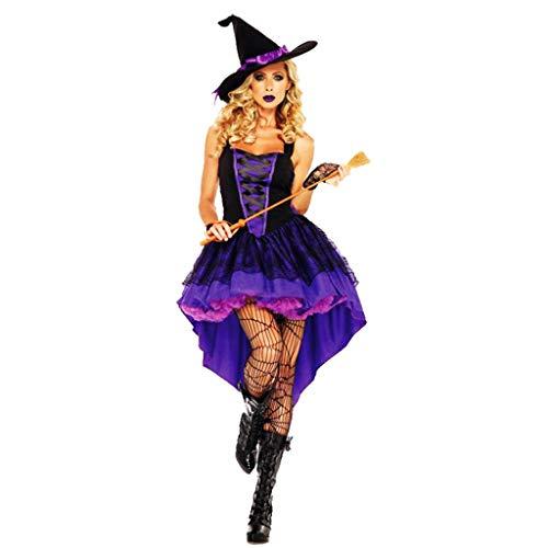 1-1 Halloween Cosplay Adult Hexe lila Schwalbenschwanz-Kleid-Abendkleid-Karneval-Kostüm-Partei (Hut, (Dunkle Hexe Übergröße Kostüm)