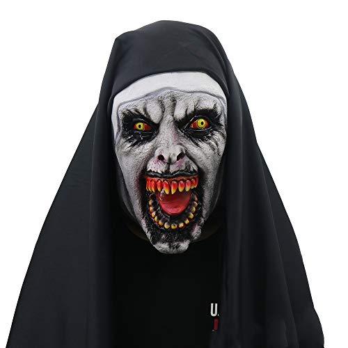 NJSD Party-Spielzeug, Halloween Horror-Nonne-Maske, gruselige weibliche Grimasse, grüner Latex, Maskeradenrequisiten, Einheitsgröße,Black