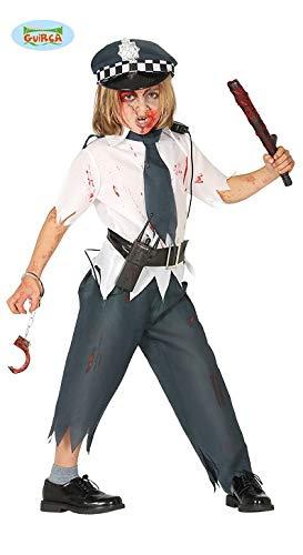 Toter Kostüm Polizist - Guirca Zombie Polizist Halloween Karneval Kostüm für Jungen Untoter tot Tod Polizei Gr. 110-146, Größe:140/146