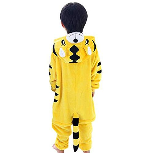 GWELL Kinder Kostüm Tier Kostüme Schlafanzug Mädchen Jungen Winter Nachtwäsche Tieroutfit Cosplay Jumpsuit Tiger Körpergröße 125-134cm